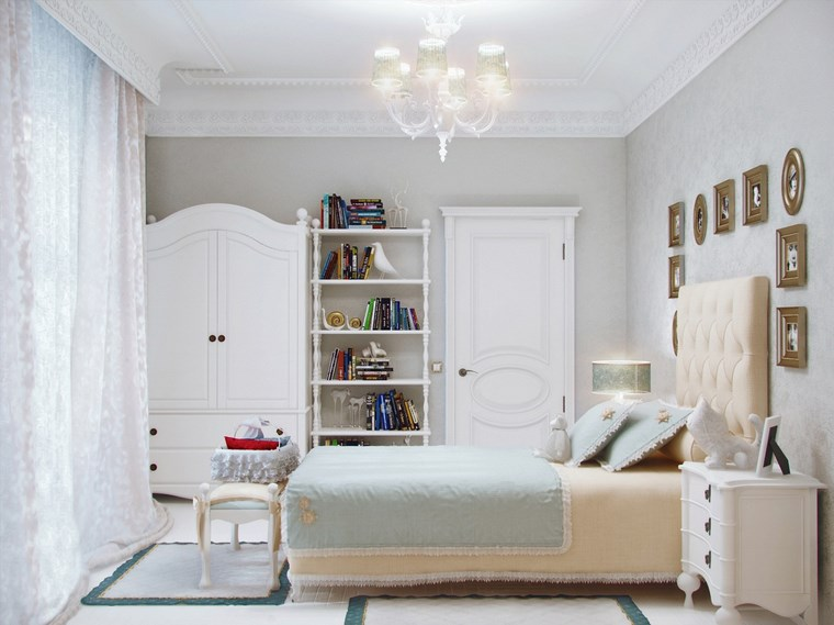 decorar habitacion niña armario blanco cuadros ideas