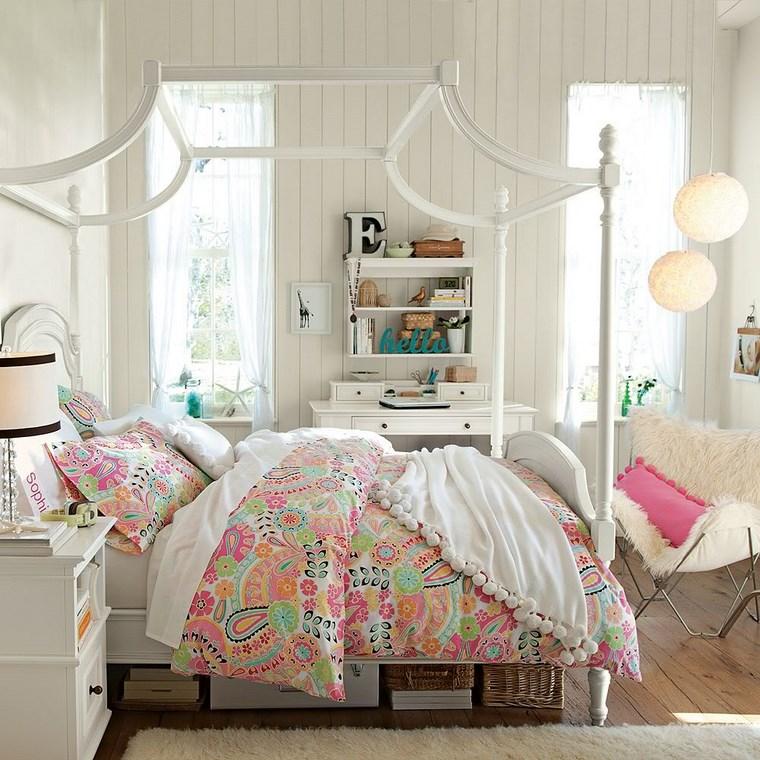 decorar habitacion niña cama dosel blanco madera ideas