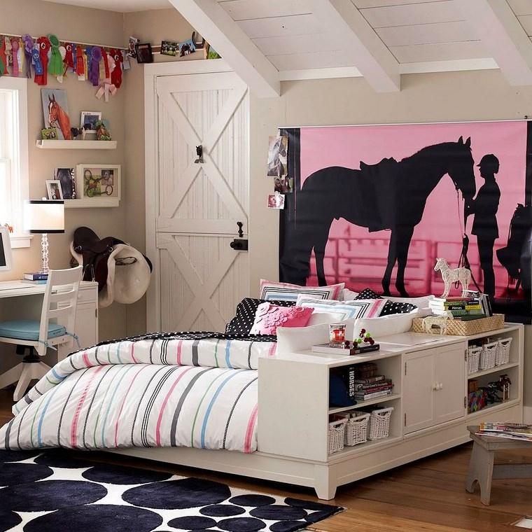 decorar habitacion nia cama madera blanca ideas
