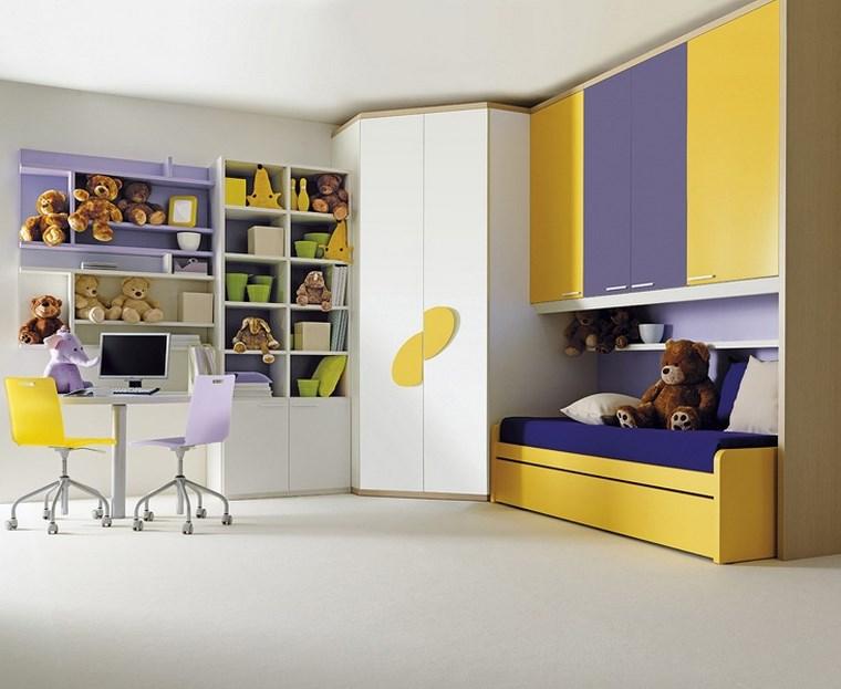 decorar habitacion niña combinacion amarillo purpura ideas
