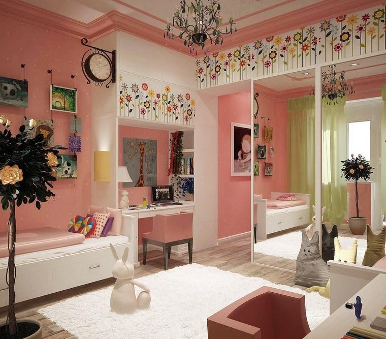 decorar habitacion niña flores pared espejos ideas