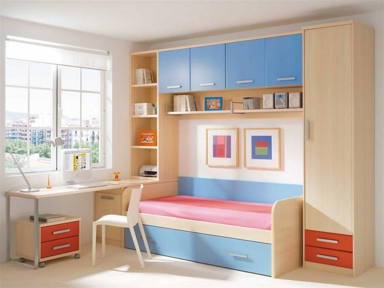 muebles de pared para dormitorio habitacion chica diseno