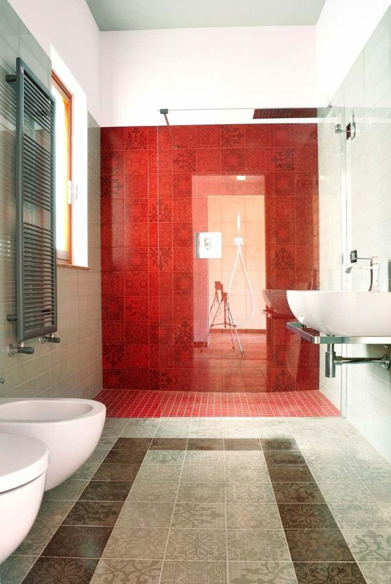 detalles color rojo bano losas maravillosas ideas