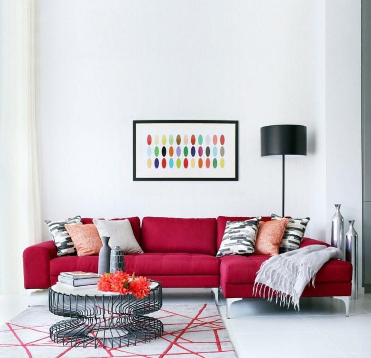 detalles color rojo salon sofa mesita negra ideas
