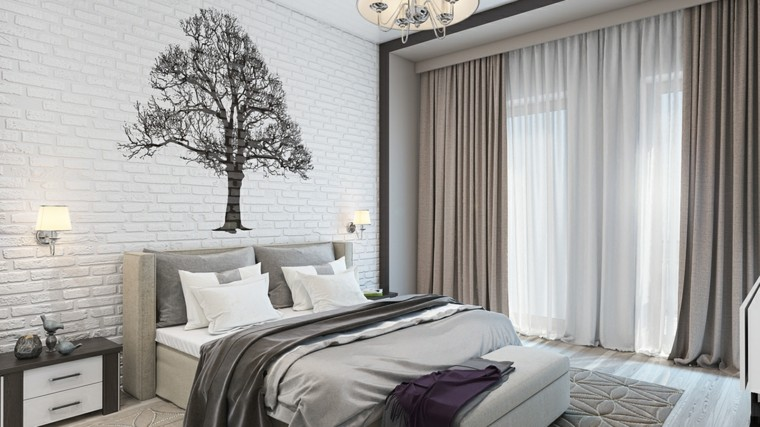 detalles y mas opciones dormitorio moderno arbol pared ladrillo ideas