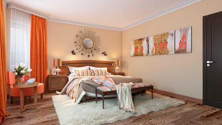 detalles y mas opciones dormitorio moderno cortinas naranja ideas