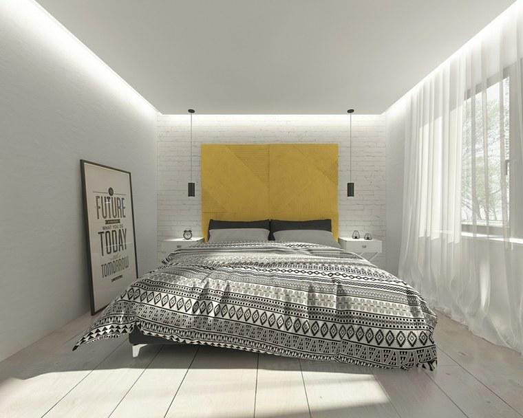 detalles opciones dormitorio moderno pared amarilla ideas