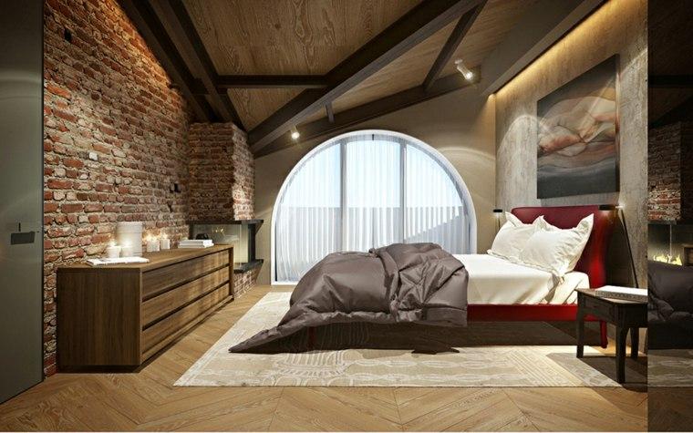 detalles opciones dormitorio moderno pared ladrillo ideas