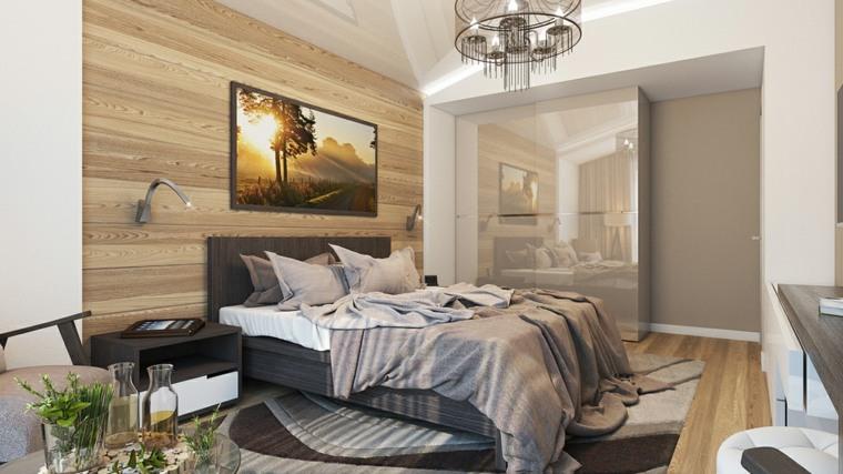 detalles opciones dormitorio moderno pared madera cuadro ideas