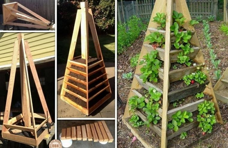 diseño original jardinera vertical madera