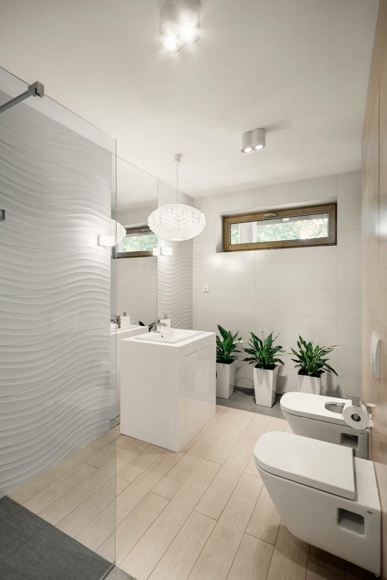 diseño baño moderno muebles blancos