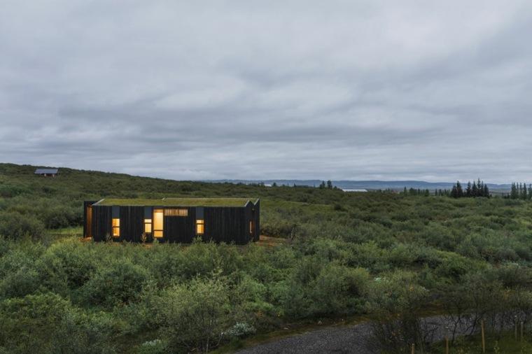diseño casa campo tejado verde