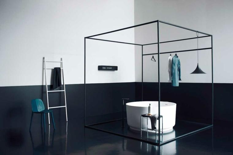 diseño cuarto baño moderno oscuro