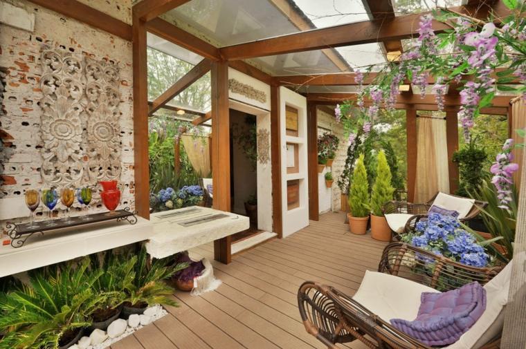 diseño decoración porche jardin