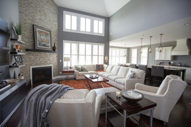 diseño decoración moderna salón gris