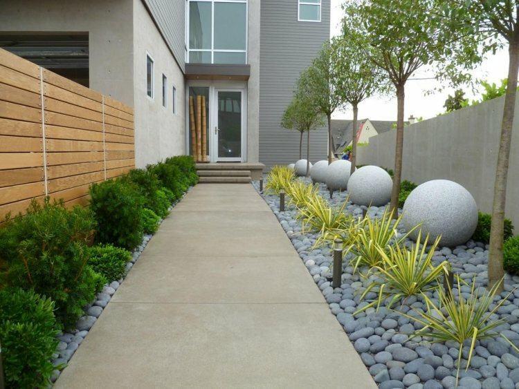Diseños de jardines modernos decorados con piedras