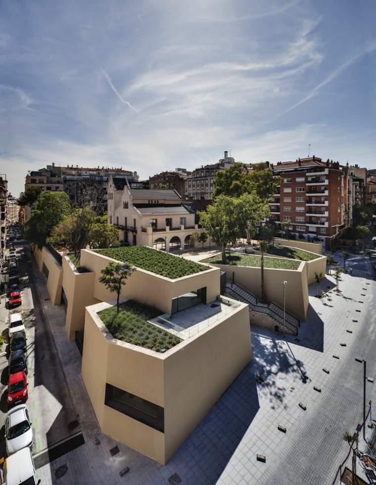 modern green plant terrace design