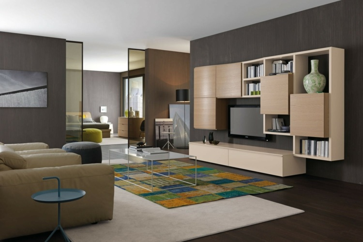 Muebles tv integrados con biblioteca 75 ideas modernas for Modulares para tv modernos
