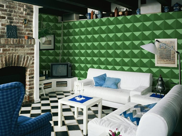 diseño original papel pared verde
