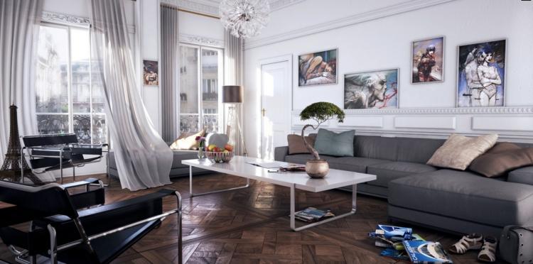 diseño salón tonos neutros grises