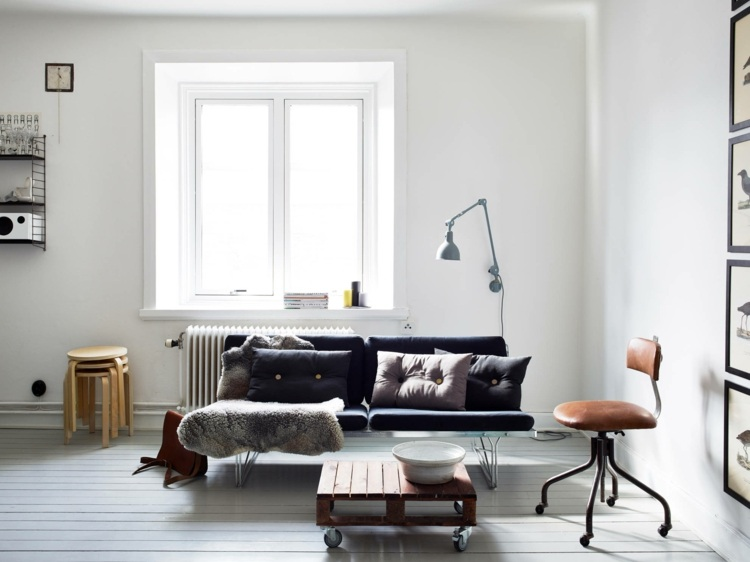 diseño sala de estar escandinava