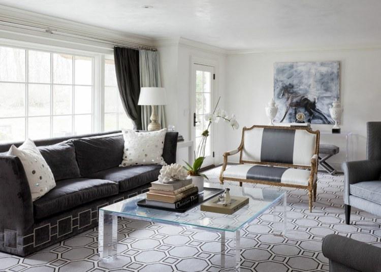 diseño salón color gris y blanco