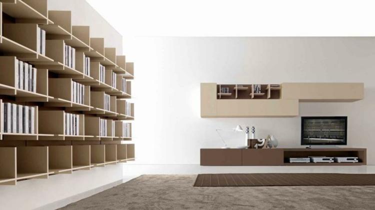 diseño moderno salon estantes libreria