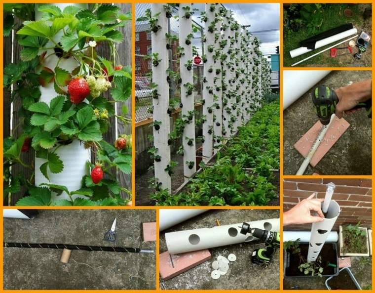 diseños caseros jardineras verticales fresas