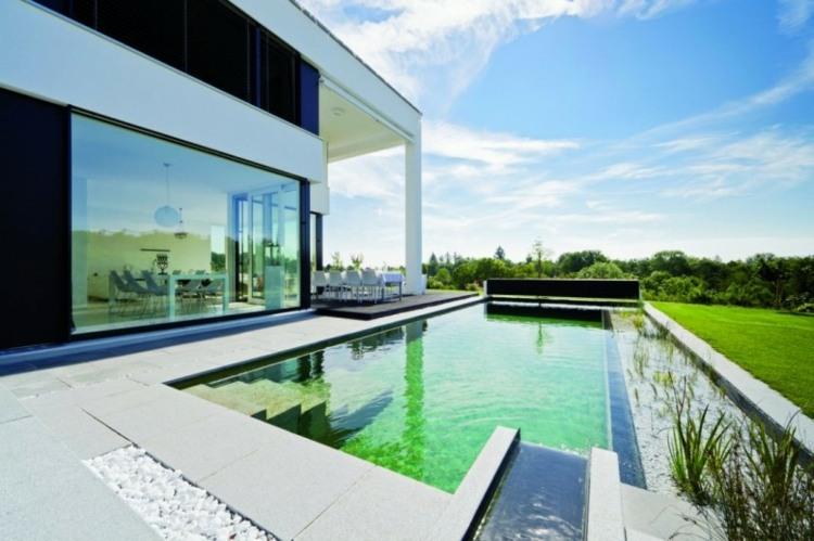 diseños modernos jardines con piscina