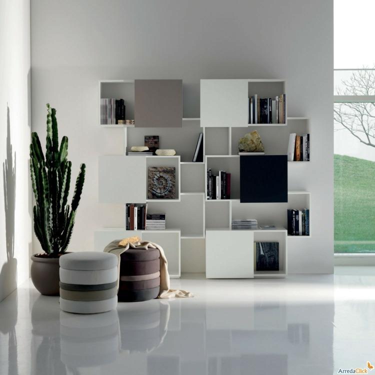 Muebles tv integrados con biblioteca 75 ideas modernas for Disenos de modulares para living