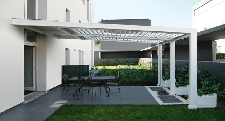 diseños porches jardin modernos blanco