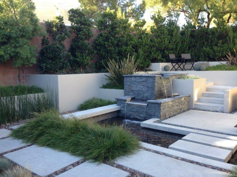 diseño de jardines terrazas abetos plantas ideas