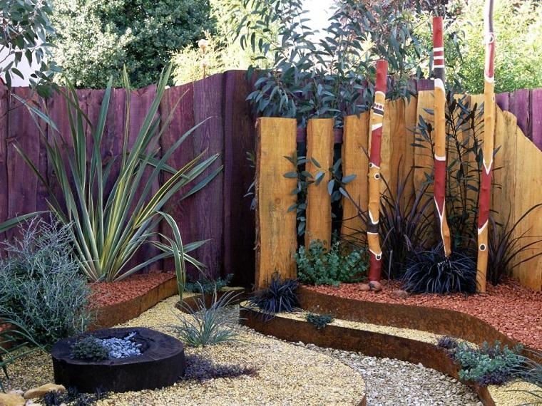 diseño de jardines terrazas acero corten piedras ideas