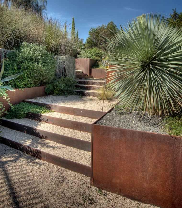 diseño de jardines terrazas acero corten ideas
