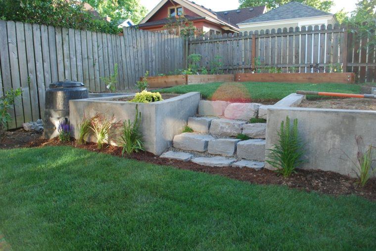 diseño de jardines terrazas aire libre parte trasera casa ideas