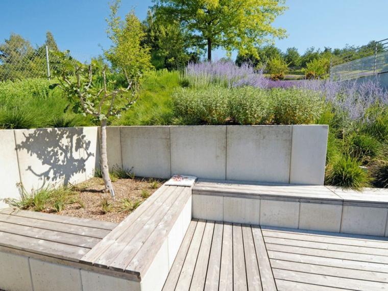 diseño de jardines terrazas banco madera ideas