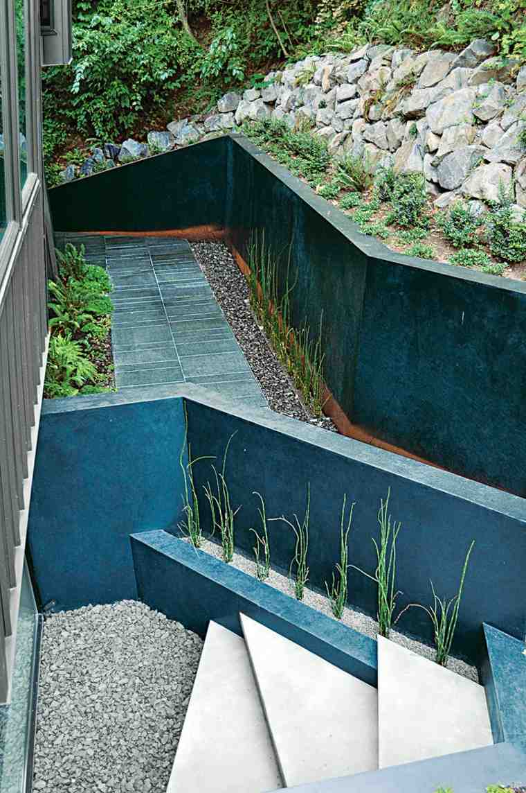 diseño de jardines terrazas camino losas negras ideas