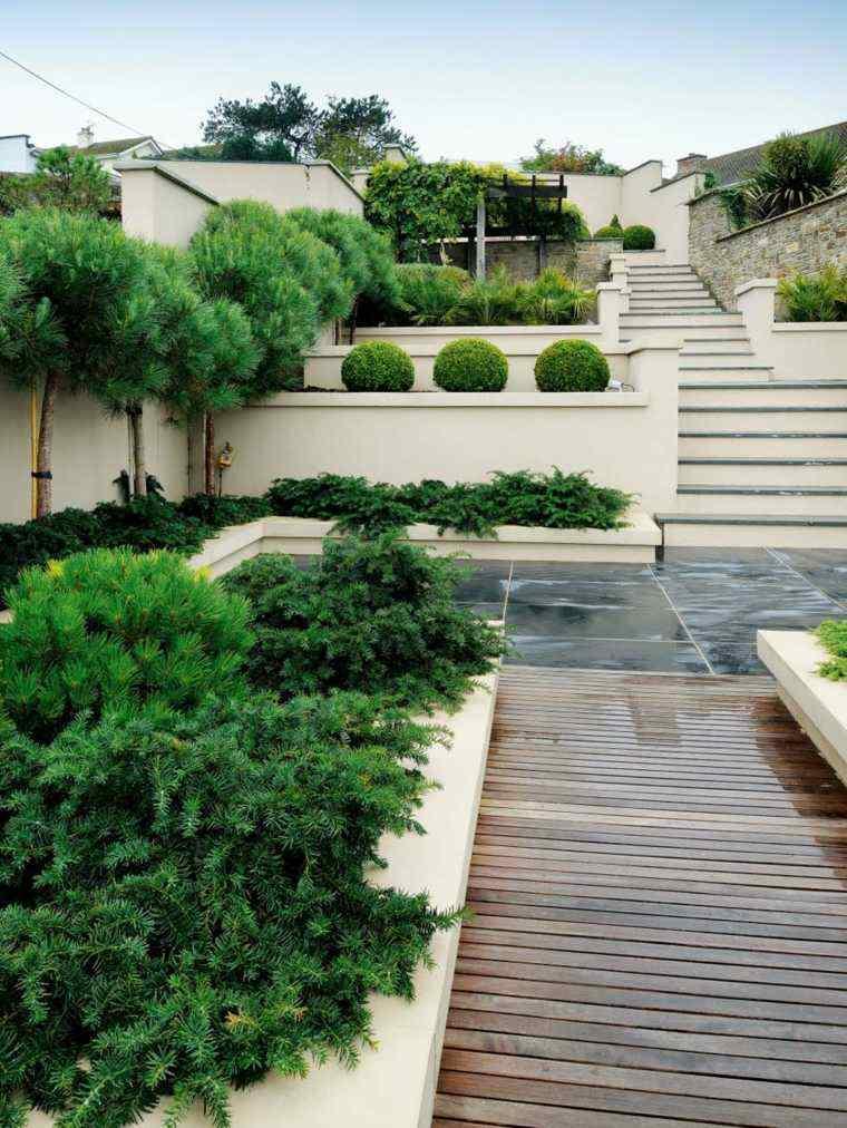 diseño de jardines terrazas camino madera ideas