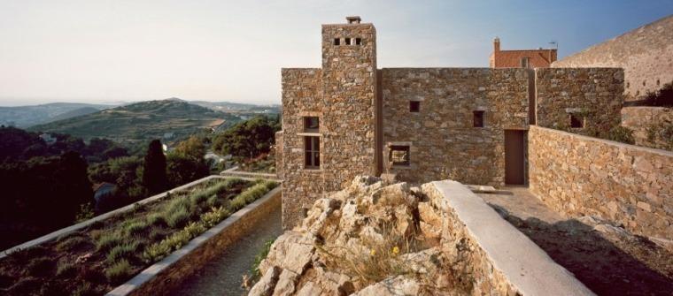 diseño de jardines terrazas casa piedra ideas