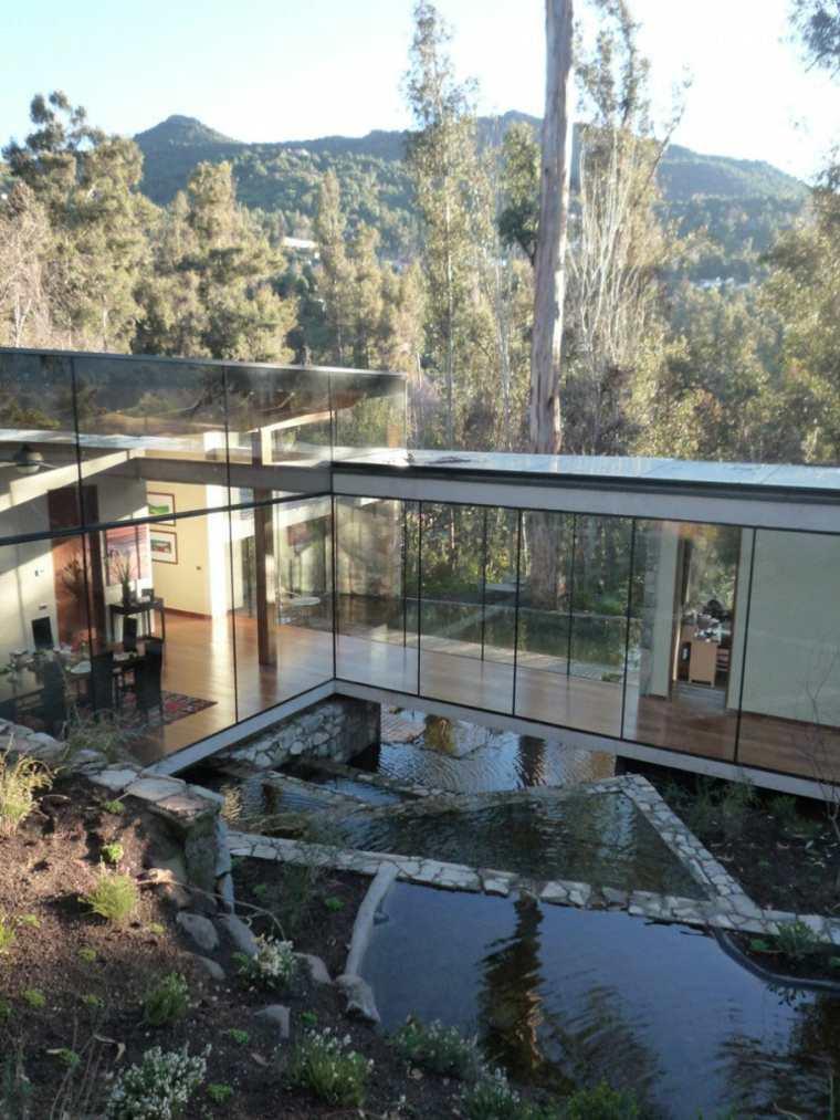 diseño de jardines terrazas casa ventanas cristal ideas