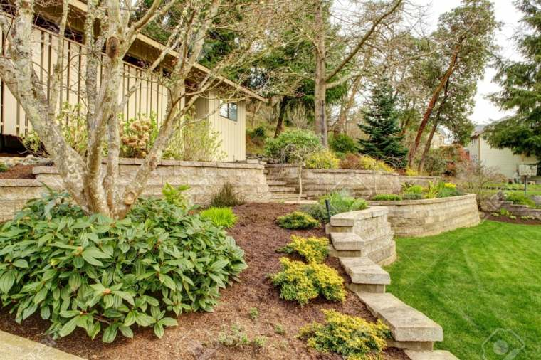 diseño de jardines terrazas cesped arboles casa ideas