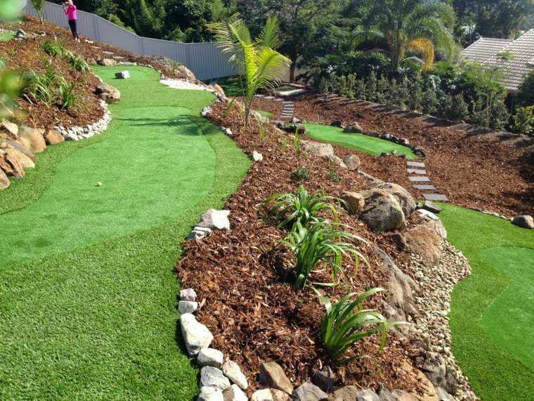 diseño de jardines terrazas cesped camino ideas