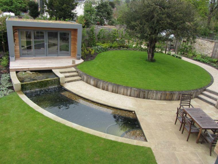 diseño de jardines terrazas cesped estanque ideas