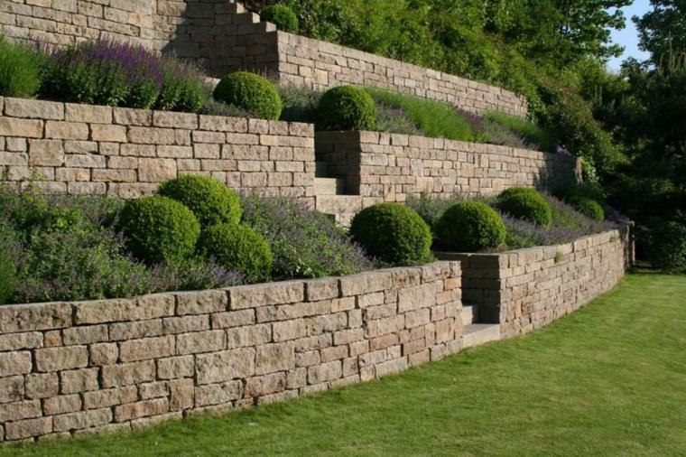 diseño de jardines terrazas cesped plantas helechos ideas