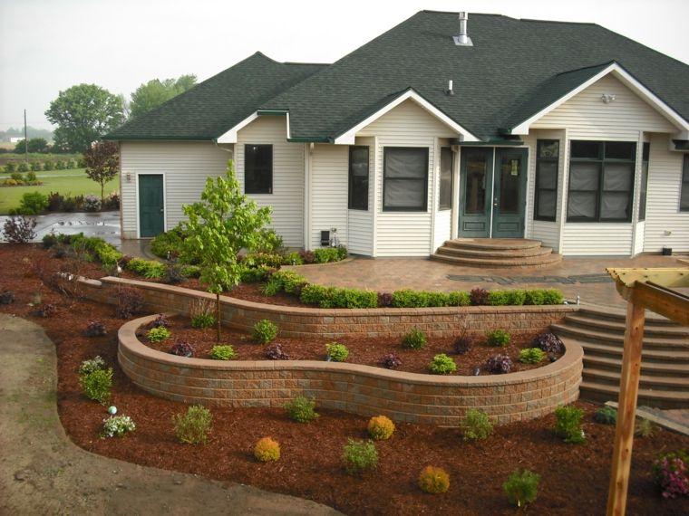 Dise o de jardines 100 ideas de terrazas en el jard n for Jardines pequenos con ladrillos