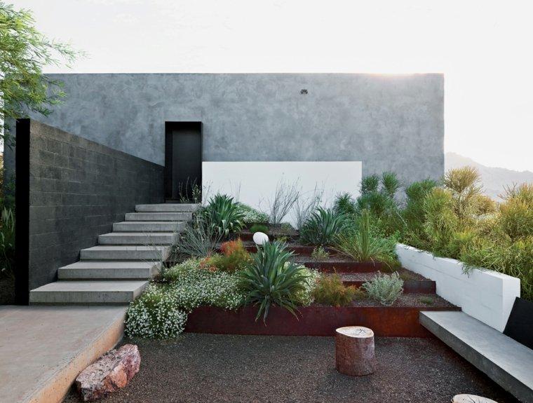 diseno jardines terrazas escalera plantas paredes ideas