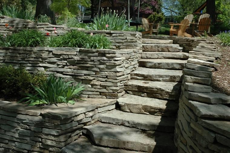 diseno jardines terrazas escaleras piedra ideas