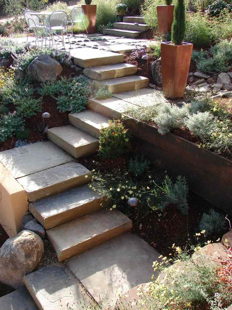 diseno jardines terrazas escaleras plantas ideas