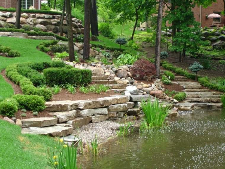 diseno jardines terrazas estanque grande espacios amplios ideas