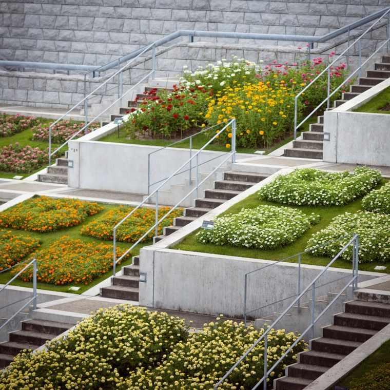 diseno jardines terrazas flores primavera colores ideas